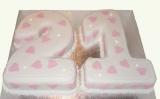 21st birthday cake hearts and diamonds