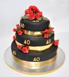40th birthday black red roses3