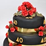 40th birthday black red roses2
