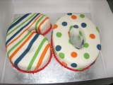 60th birthday cake - Spots and stripes