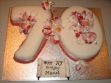 70th birthday cake, orchids