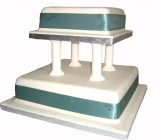 Green Square 2 tier Wedding Cake