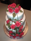 Red Roses and Diamond Wedding Cake