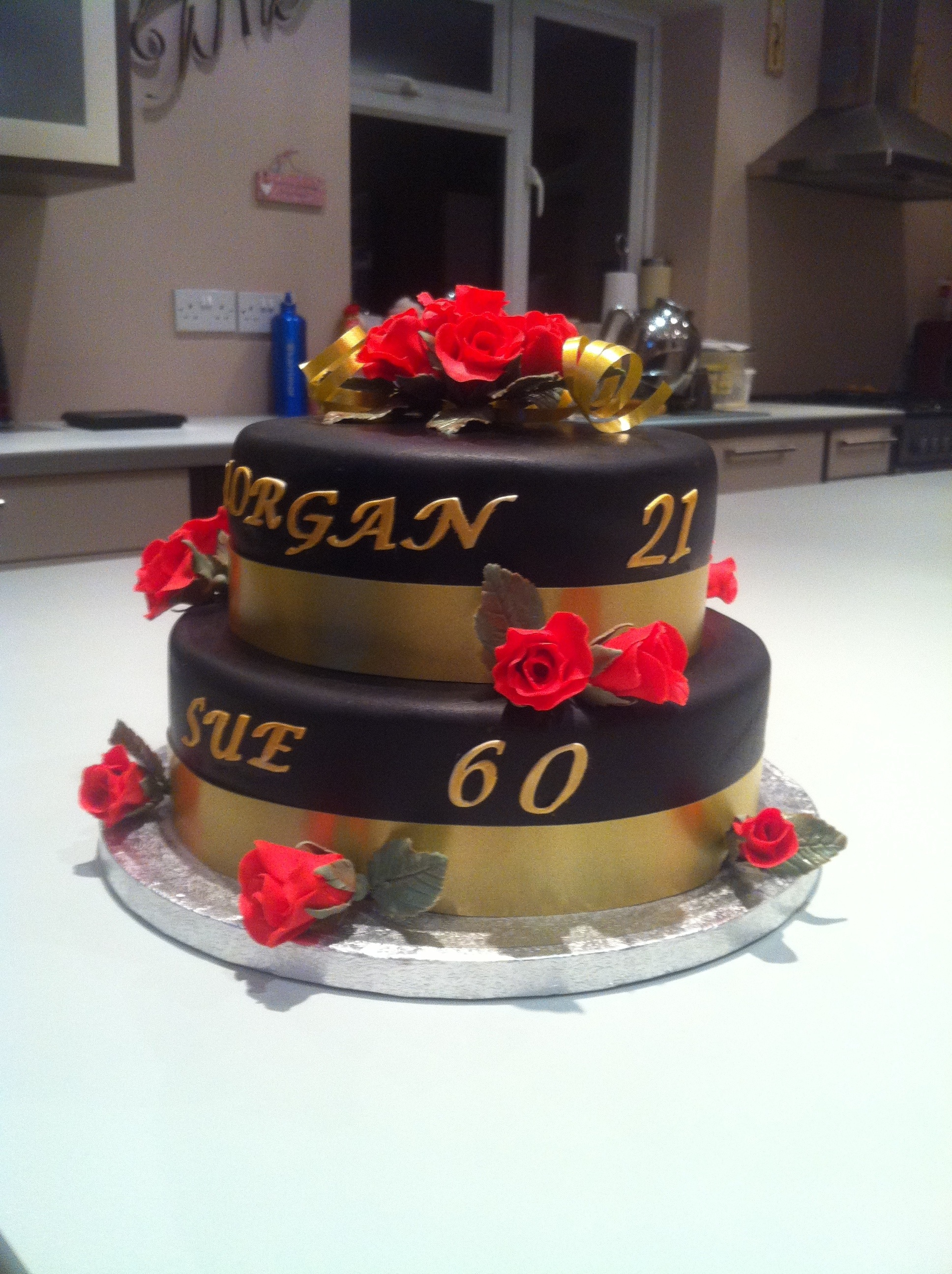 Black Silver And Gold 50th Birthday Cakes